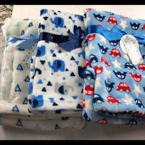 Other - Set of 3 Plush Baby Blankets measure 30x30 NWT